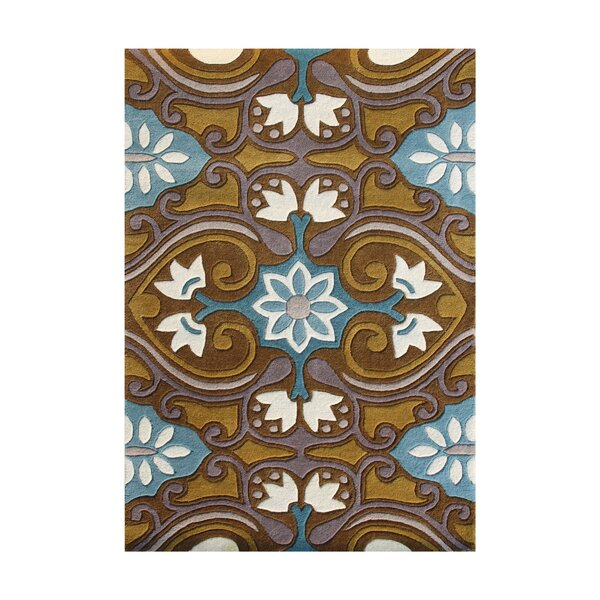 Plush Hand-Tufted Blue/ Brown Area Rug by The Conestoga Trading Co.