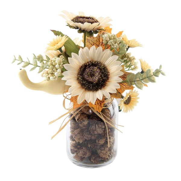 9.5 Tall Sunflowers Floral Arrangement in Pinecone Jar by August Grove