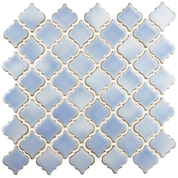 Pharsalia 2 x 2.25 Porcelain Mosaic Tile in Frost Blue by EliteTile