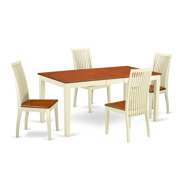 Cleobury 5 Piece Solid Wood Dining Set by August Grove