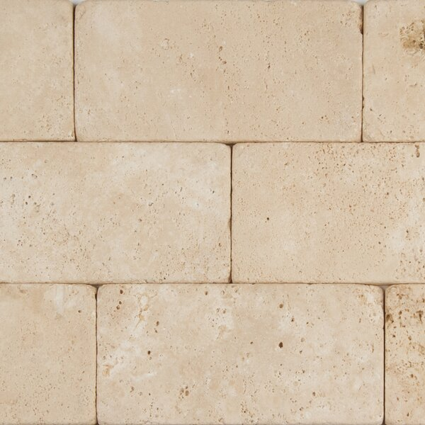 Durango 3 x 6 Travertine Subway Tile in Tumbled  Cream by MSI