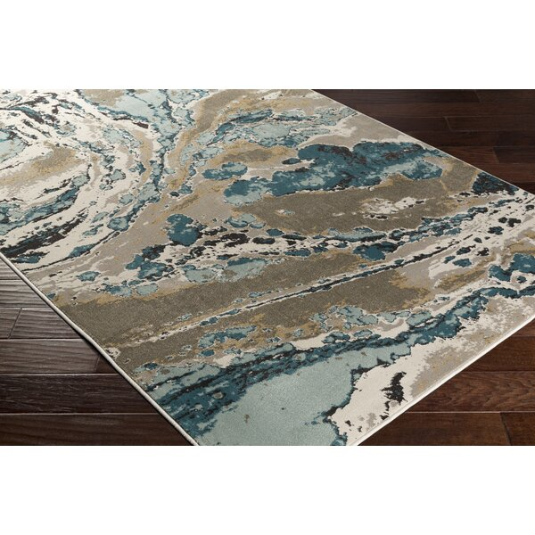 Divernon Beige/Blue Abstract Area Rug by Ebern Designs