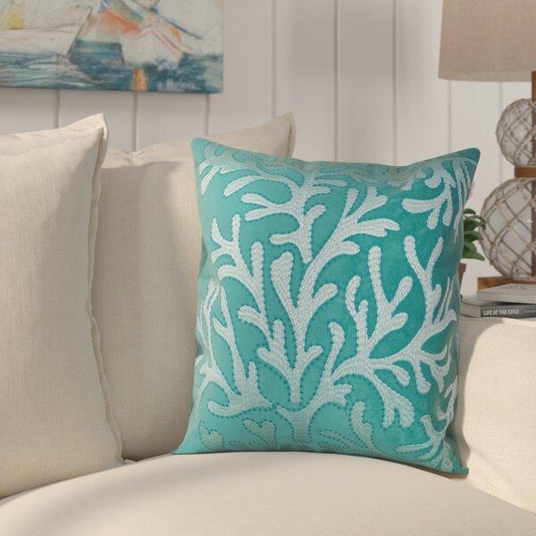 Farnham Embroidery Coral Island Velvet Throw Pillow by Highland Dunes