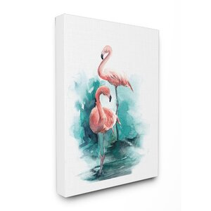 Flamingo Duo Watercolor Texture Stretched Canvas Wall Art by Stupell Industries