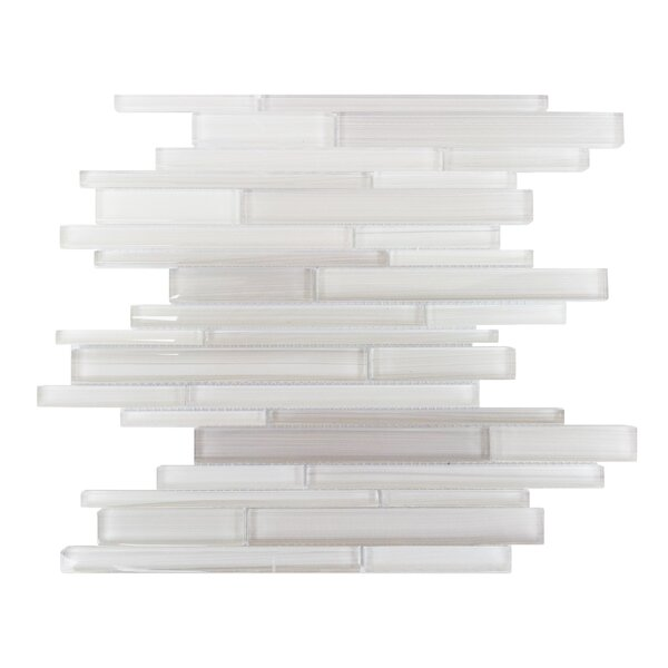 Horizon Random Sized Glass Splitface Tile in Taupe and White by Mulia Tile