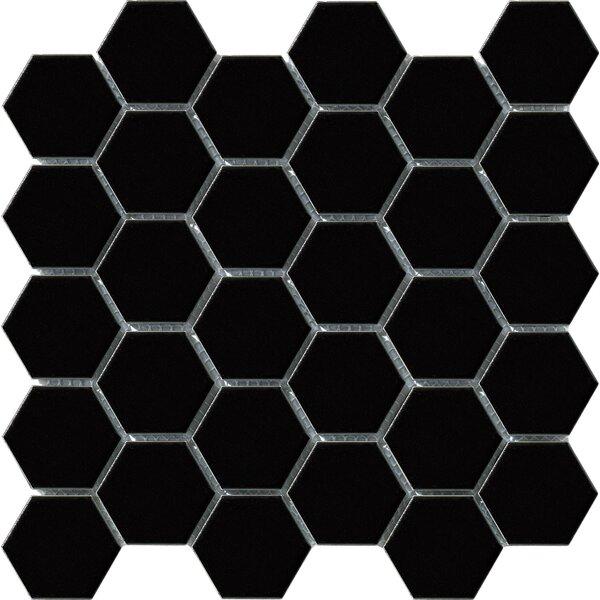 Vintage 2 x 2 Porcelain Mosaic Tile in Black Hexagon by Walkon Tile