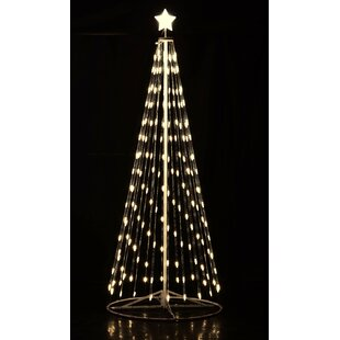 white outdoor lighted christmas trees pre lit outdoor white led cone tree with collapsible base and wireless remote led wayfair