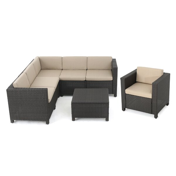 Furst 7 Piece Sectional Seating Group with Cushions by Wade Logan