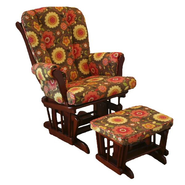 Peggy Sue Floral Glider with Ottoman by Cotton Tale