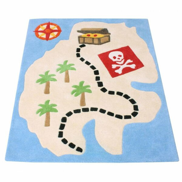 Pirate Hand-Woven Blue/Beige Area Rug by Baby Face