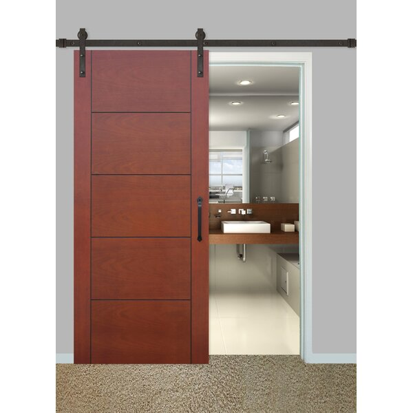 Cont. MAH Prefinished 5 Panel Hollow Flush Wood Interior Barn Door by Creative Entryways