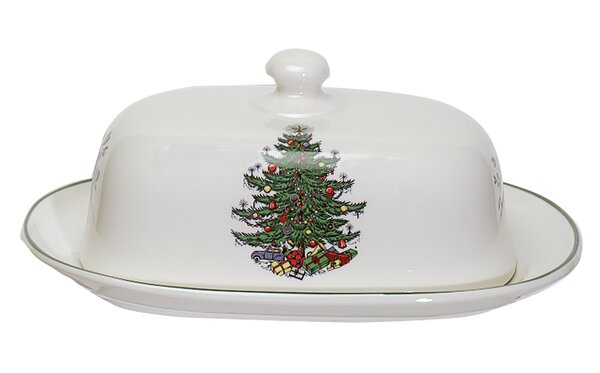 Original Christmas Tree Traditional Covered Butter Dish by The Holiday Aisle