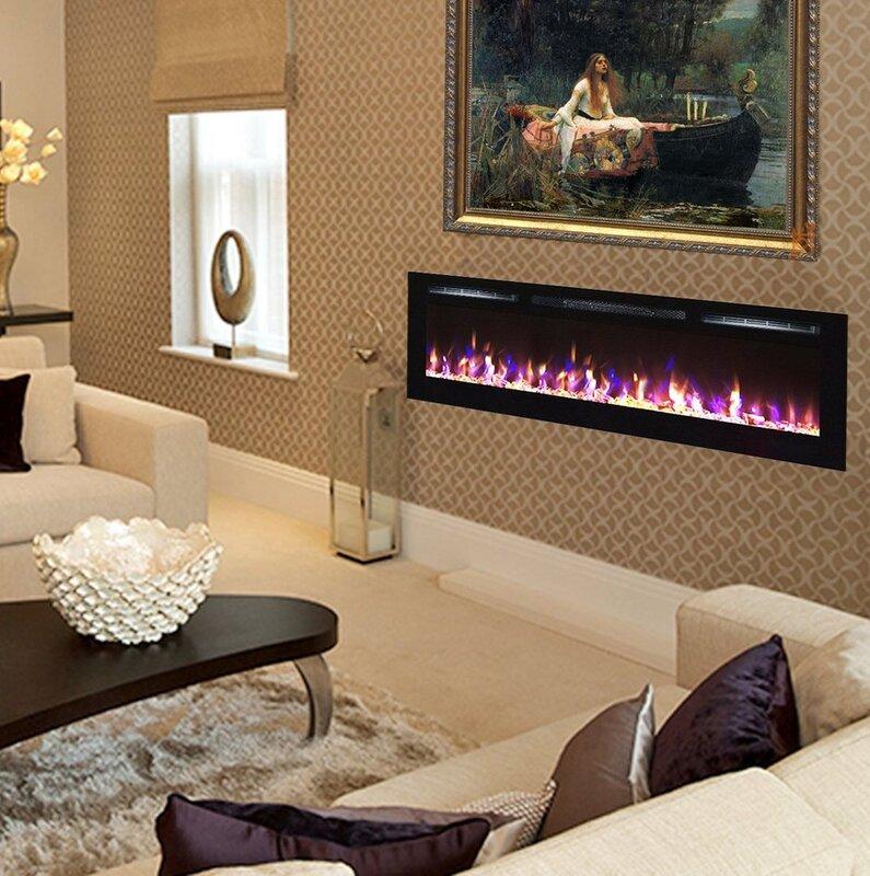 Brayden Studio Quentin Recessed Electric Fireplace & Reviews | Wayfair