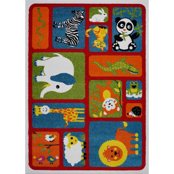 Kindig Adorable Animals Red/Orange Area Rug by Zoomie Kids