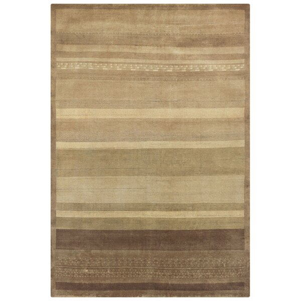 Ujhani Hand-Knotted Beige Area Rug by Meridian Rugmakers