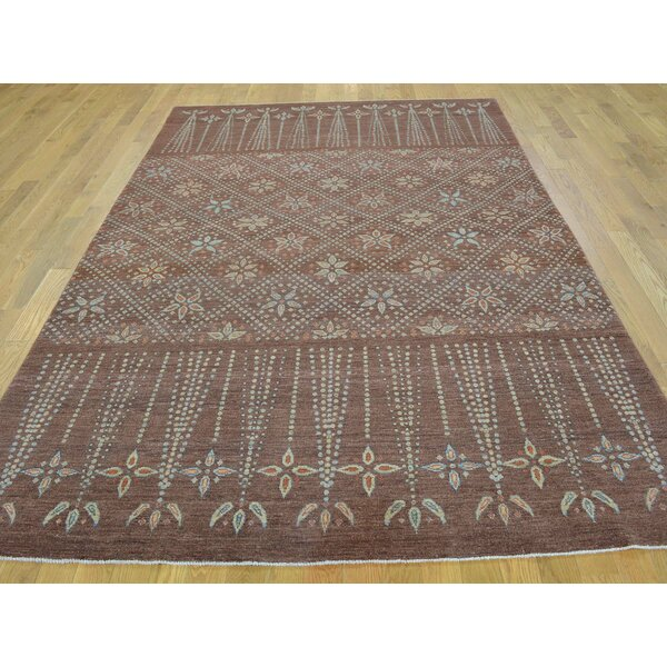 One-of-a-Kind Bilmar Peshawar Hand-Knotted Brown Wool Area Rug by Isabelline