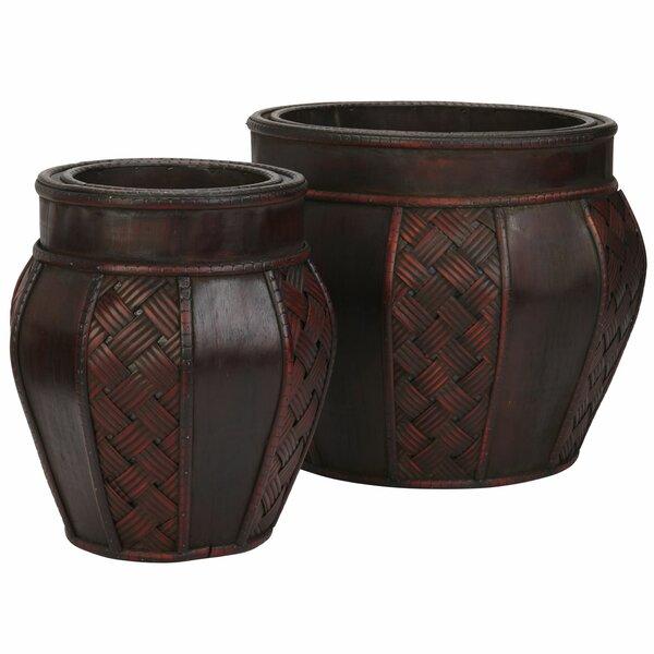Pembroke Wood Pot Planter Set (Set of 2) by Bay Isle Home