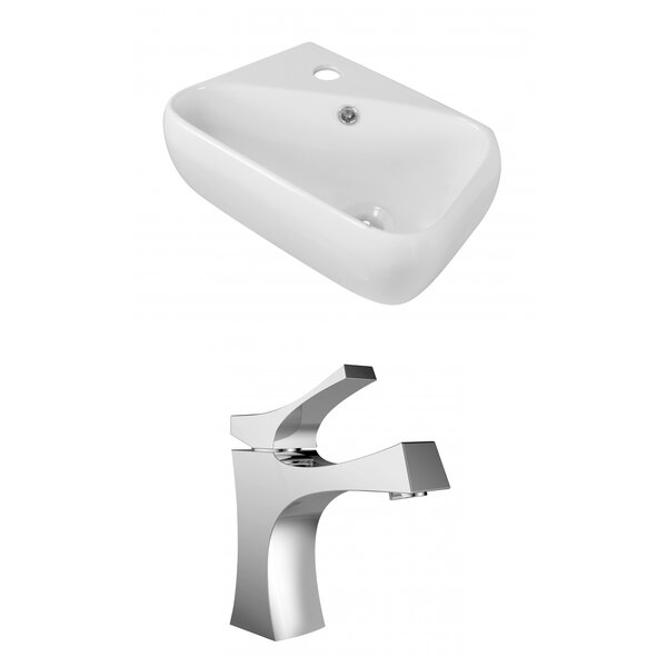 Ceramic 18 Wall Mount Bathroom Sink with Faucet and Overflow by Royal Purple Bath Kitchen
