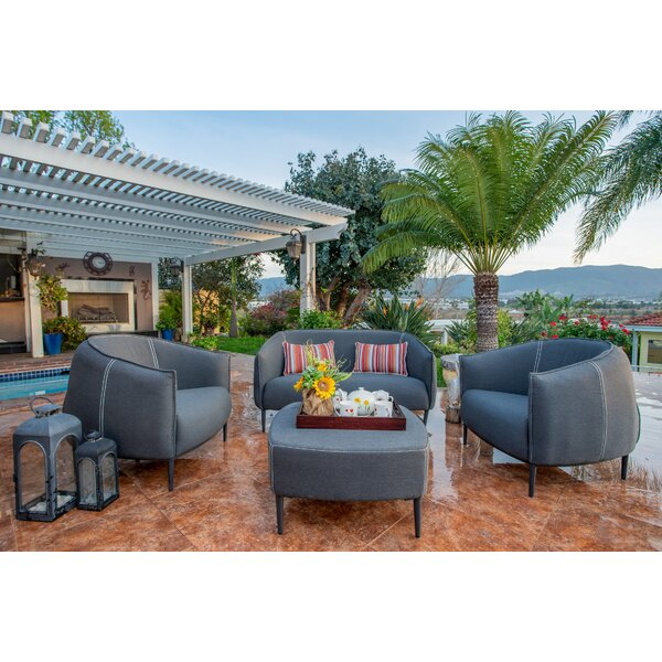 Carmelo Outdoor 4 Piece Sofa Seating Group with Sunbrella Cushions by Brayden Studio