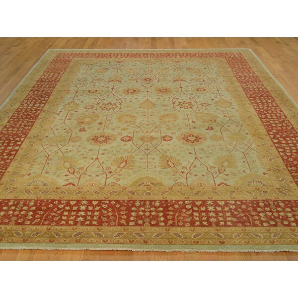 One-of-a-Kind Bellar Tabriz Antiqued Dense Weave Hand-Knotted Ivory Wool Area Rug by Isabelline