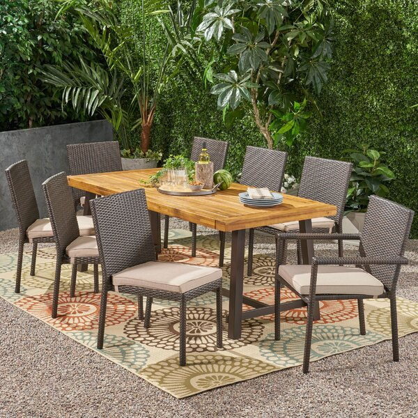 Herefordshire Outdoor Wood and Wicker 9 Piece Dining Set with Cushions by Ivy Bronx