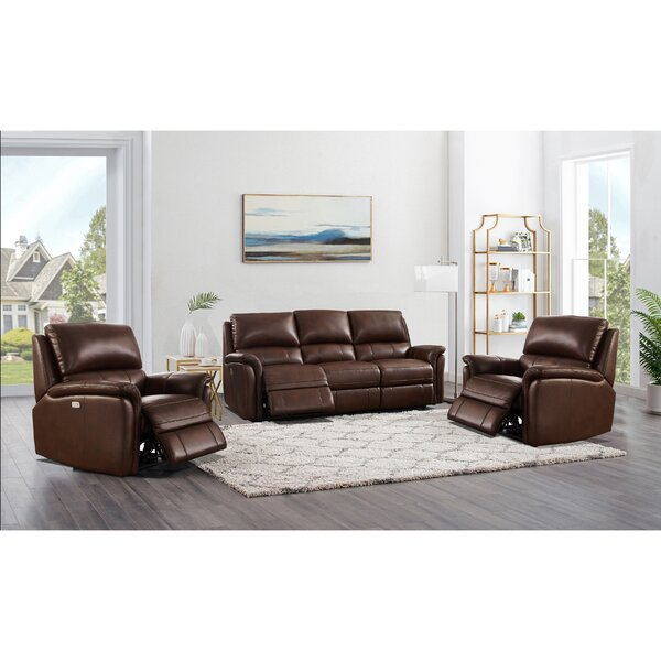 Genie 3 Piece Leather Reclining Living Room Set By Winston Porter
