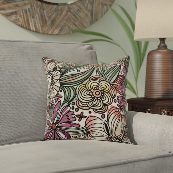 Natahsa Zentangle Floral Throw Pillow by Latitude Run