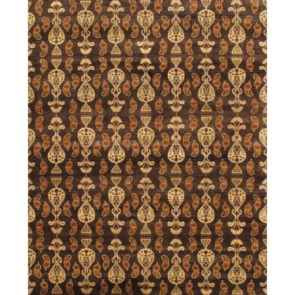 Ikat Hand-Knotted Brown Area Rug by Pasargad