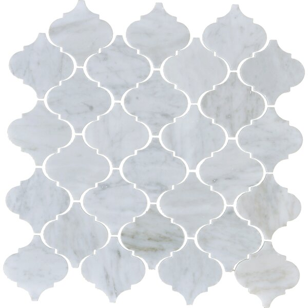 Carrara Arabesque Marble Mosaic Tile in White by The Bella Collection