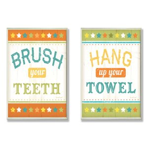 Brush your Teeth and Hang up Your Towel 2 Piece Typography Wall Plaque Set by Stupell Industries