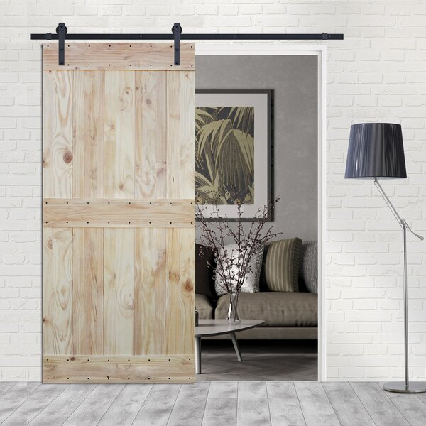 Two Side Mid-Bar Solid Wood Paneled Pine Slab Interior Barn Door by Calhome
