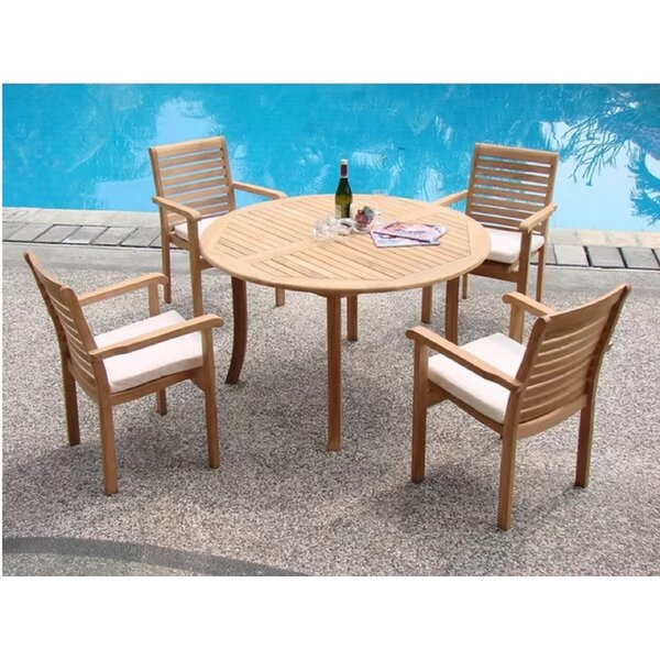 Kole Luxurious 5 Piece Teak Dining Set by Rosecliff Heights