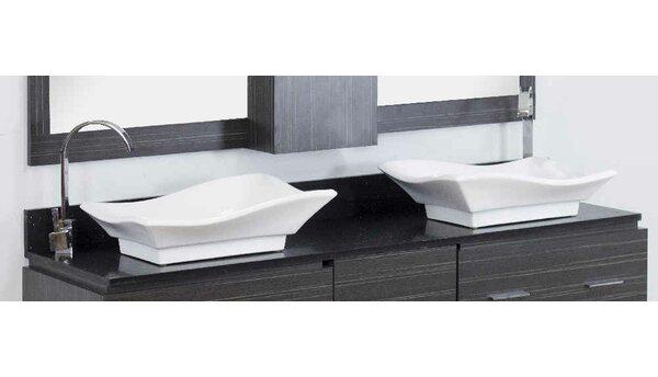 Dunamuggy 60 Wall-Mounted Double Bathroom Vanity Set by Royal Purple Bath Kitchen