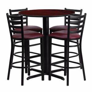Perfect Alvarez Round Laminate 5 Piece Upholstered Pedestal Pub Table Set