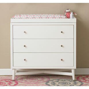 Savings Mid-Century 3 Drawer Changing Dresser in French White ByDwellStudio