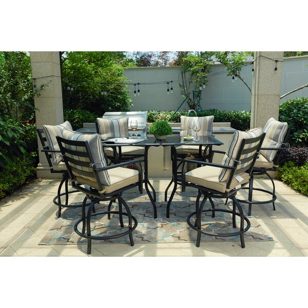 Emme High Swivel 8 Piece Dining Set with Cushions by Alcott Hill
