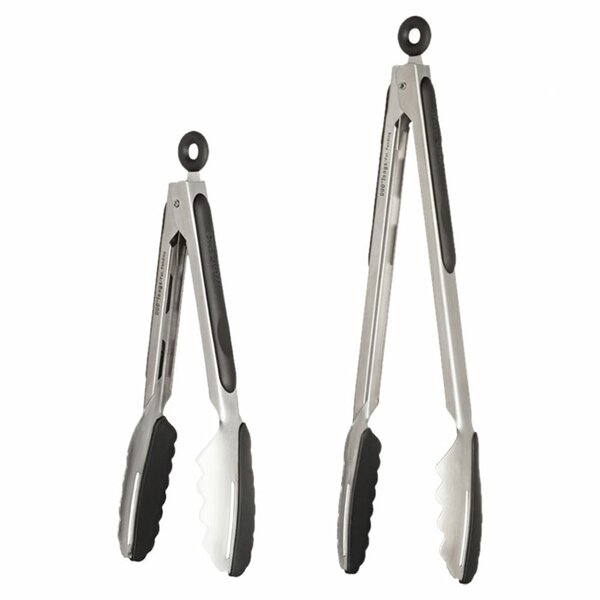 2 Piece Stainless Steel Kitchen Tongs Set by Ergo Chef