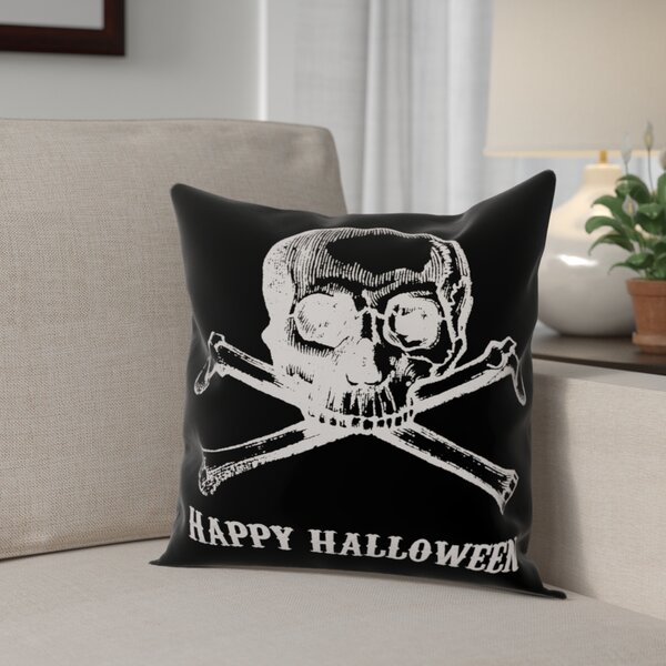 Skull and Crossbones Happy Halloween Throw Pillow by The Holiday Aisle
