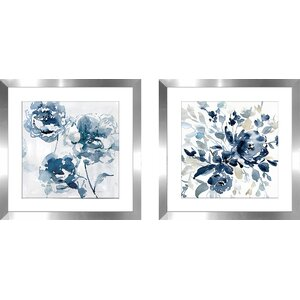 'Indigo Garden I' 2 Piece Framed Watercolor Painting Print Set by Alcott Hill