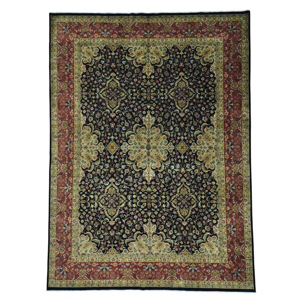 One-of-a-Kind Dillion Revival Dense Weave New Zealand Hand-Knotted Wool Black Area Rug by World Menagerie