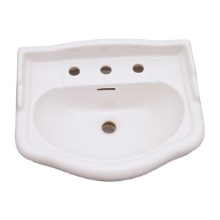Price comparison Stanford 660 Vitreous China 26 Pedestal Bathroom Sink with Overflow By Barclay