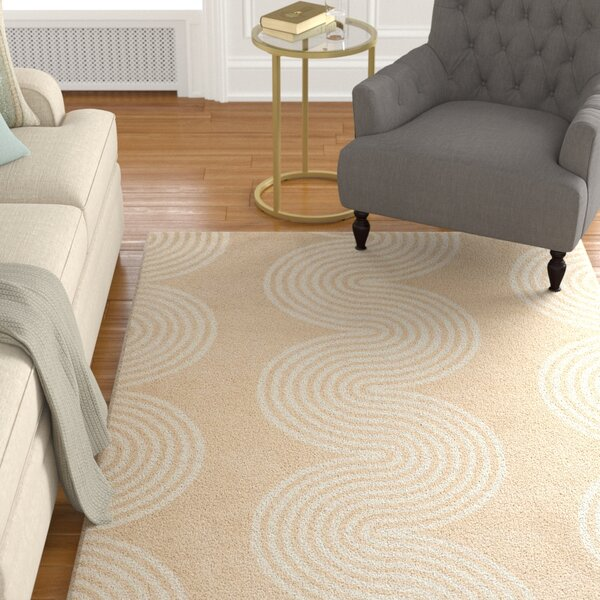 Petal Hand-Tufted Beige/Ivory Area Rug by Charlton Home