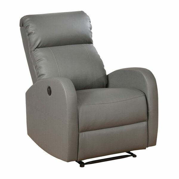 Troutman Leather Power Recliner By Latitude Run