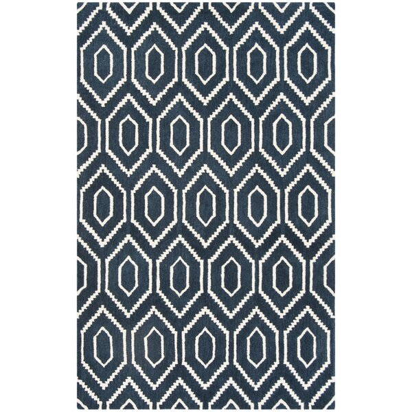 Forsberg Hand-Tufted Wool Navy/Ivory Area Rug by Wrought Studio