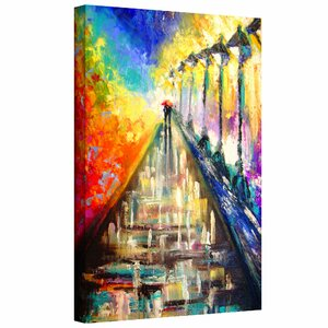 'Rainy Paris Evening' by Susi Franco Painting Print on Canvas by ArtWall