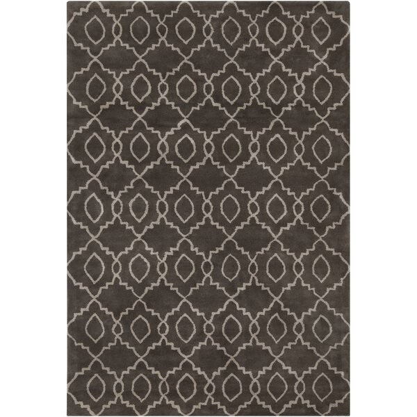 Jackeline Patterned Contemporary Wool Charcoal/Cream Area Rug by Ebern Designs