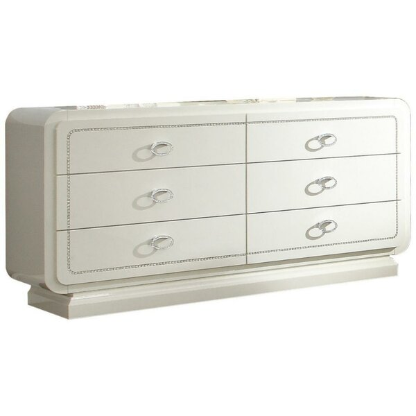 Leatrice Wooden 6 Drawer Double Dresser by Everly Quinn
