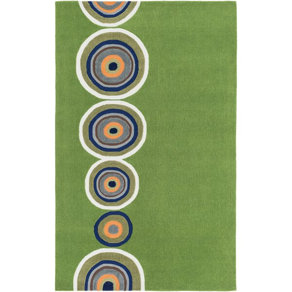 Cesar Hand-Tufted Glass Green Area Rug by Zoomie Kids