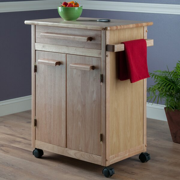 Javier Kitchen Cart with Wooden Top by Ebern Designs