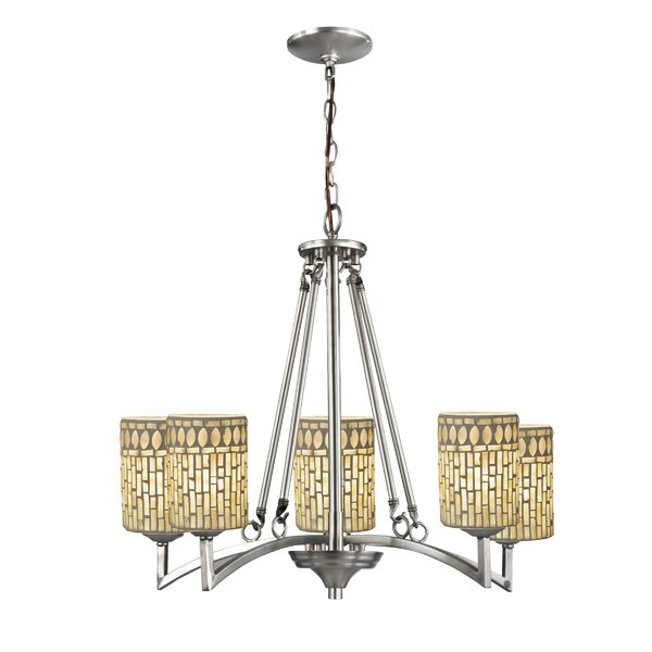 Diodorus Mosaic Art 5-Light Shaded Classic / Traditional Chandelier By World Menagerie
